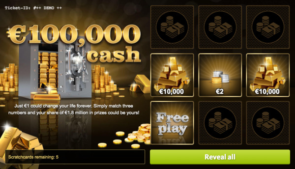 €100,000 Cash Scratchcard Screenshot