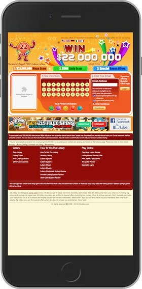 22Lottery.com Mobile Site