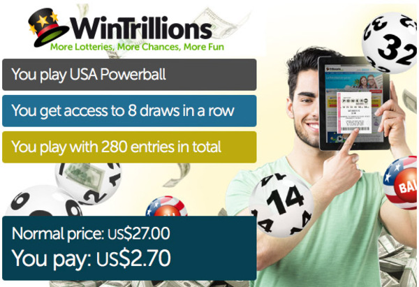90% off one-month WinTrillions Powerball subscription