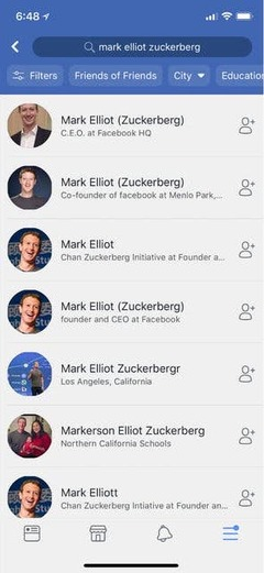 Fake Zuckerberg Profiles