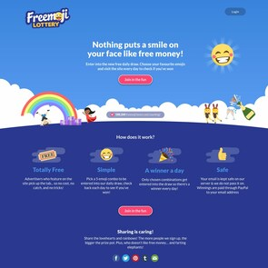 Freemoji Lottery Homepage Screenshot