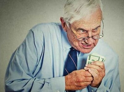 Greedy Person Holding Cash