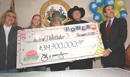 Jack Whittaker with Powerball Jackpot Check