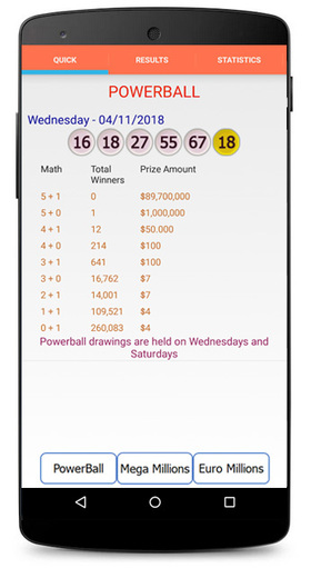 Lottery Analysis and Predictions Android Screenshot