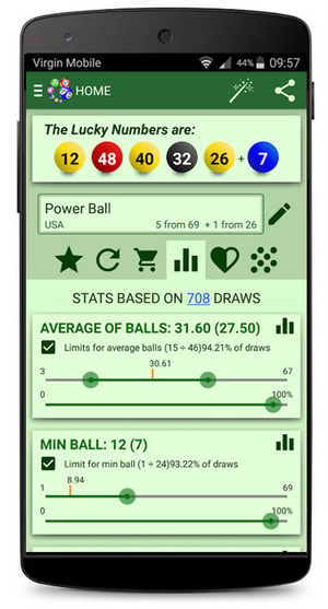 Lottery Generator Based on Stats Android Screenshot