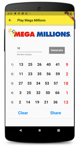 Lottery Number Generator Android Screenshot