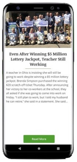 Online Lottery and Lotto Jackpot News App Screenshot