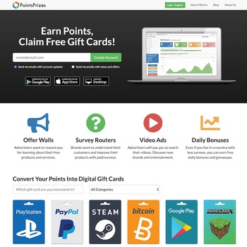 PointsPrizes Homepage