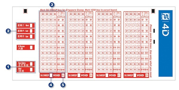 Singapore 4D Lottery Bet Slip