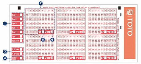 Singapore Toto Lottery Bet Slip