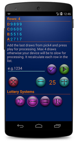 Systems for Pick4 Lottery Android Screenshot