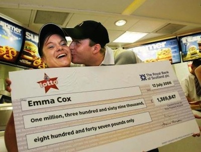 UK Lotto Winners Emma Cox and Luke Pittard With Novelty Cheque