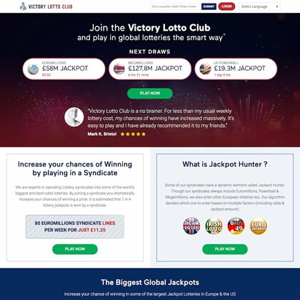 VictoryLottoClub.com Online Lottery Homepage