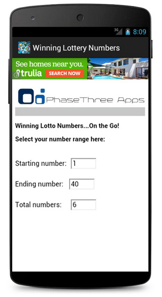 Winning Lottery Numbers Android Screenshot